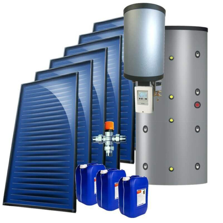 kit 10 kW autovidangeable chauffage solaire combiné, ballon multifonction instantané 1000 Litres