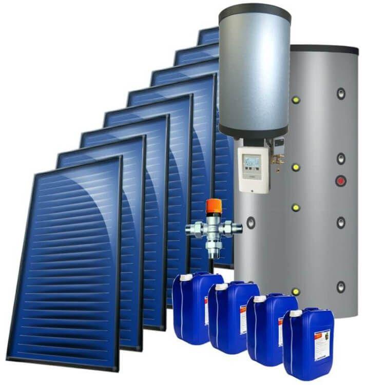kit 14 kW autovidangeable chauffage solaire combiné, ballon multifonction instantané 1250 Litres