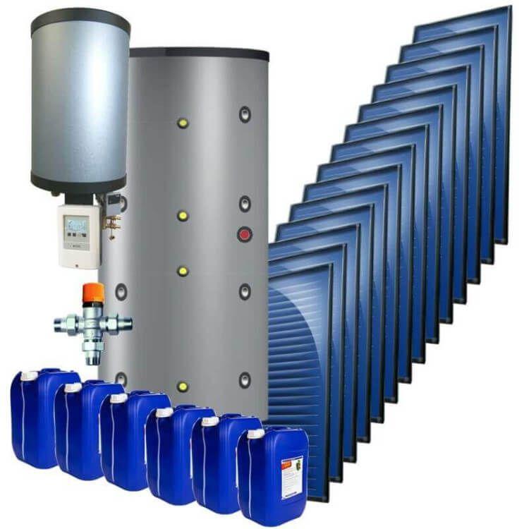 kit 25 kW autovidangeable chauffage solaire combiné, ballon multifonction instantané 1500 Litres