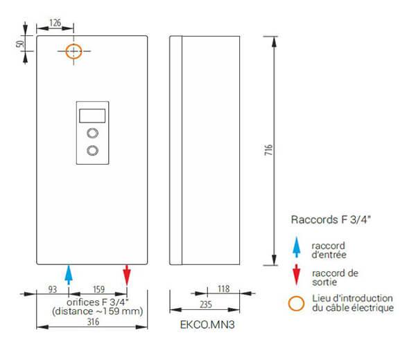 les dimensions de la chaudiere electrique kospel l3 et ln3