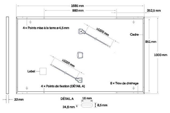 Dimensions du panneau solaire Qcells 330 Wc