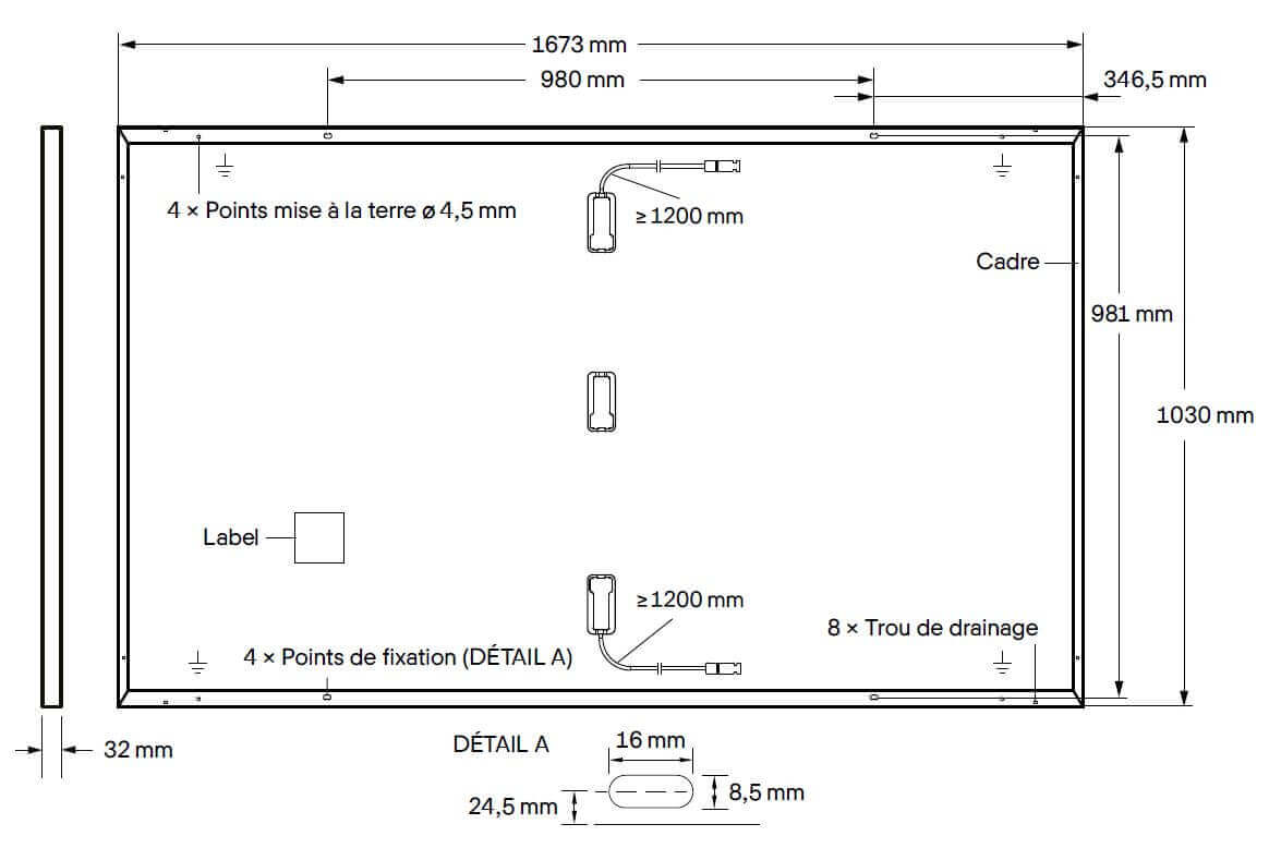 Dimensions du panneau Qcells 335 Wc Full black