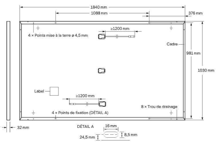 Dimensions du panneau solaire Qcells 375 Wc