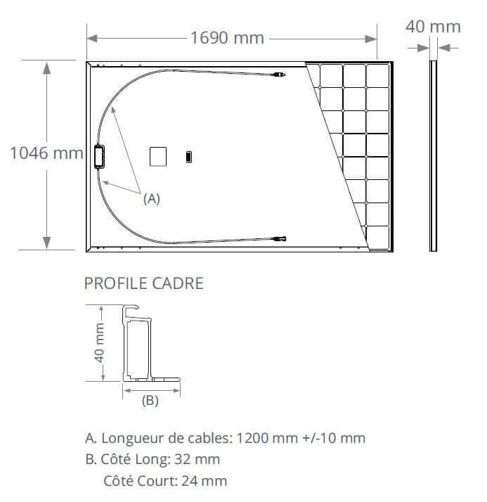 Dimensions du panneau solaire SunPower 375 Wc