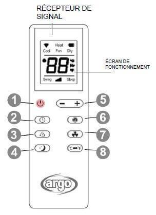Télécommande climatiseur réversible mobile 3 kW ARGO IRO PLUS