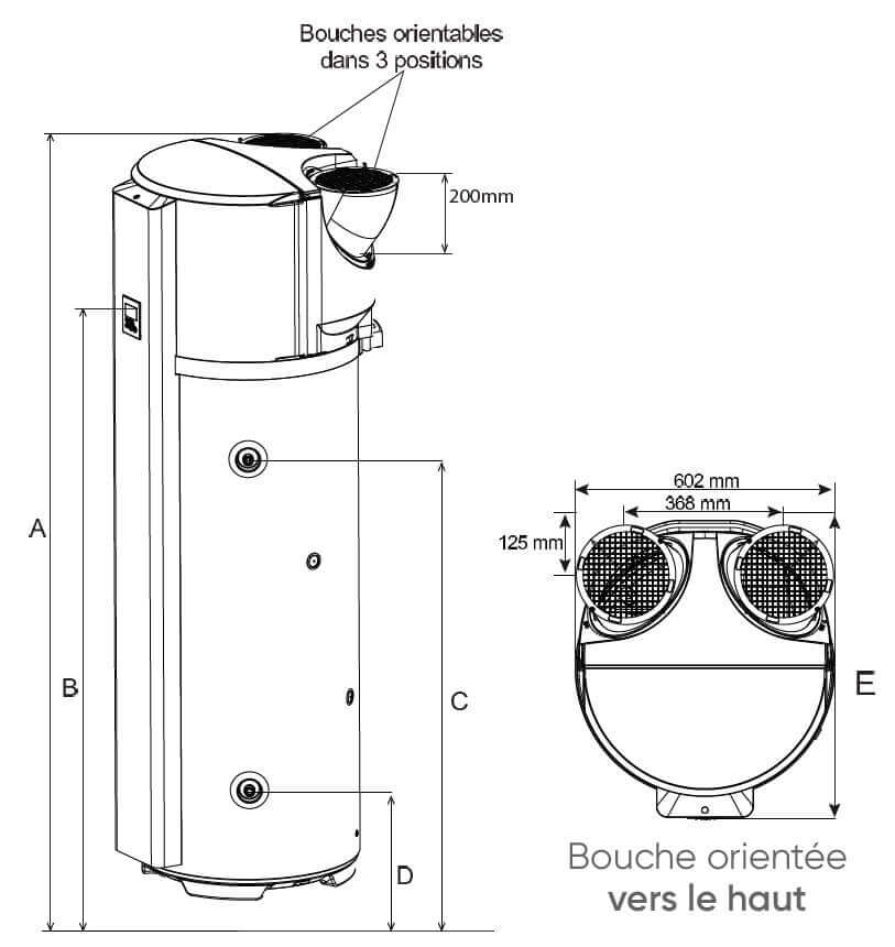 Dimensions du ballon thermodynamique connecté Atlantic CALYPSO