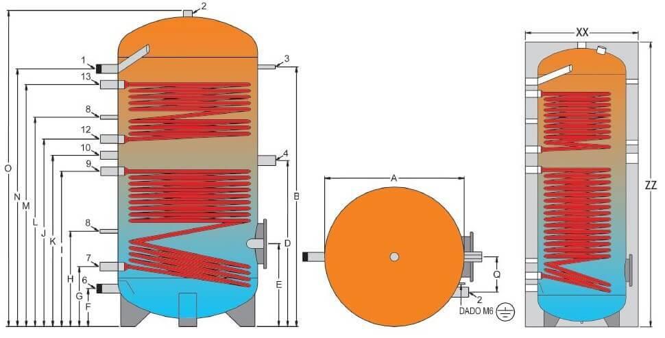 Dimensions et raccordements du ballon ECS 2 échangeurs 800 à 200 L