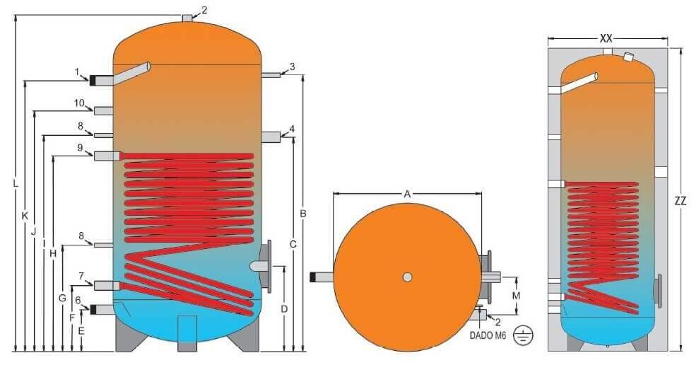 Dimensions et raccordements du ballon ECS mixte 800 à 200 Litres