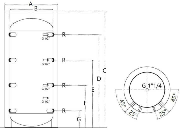 Dimensions et piquages du ballon tampon 100 à 200L