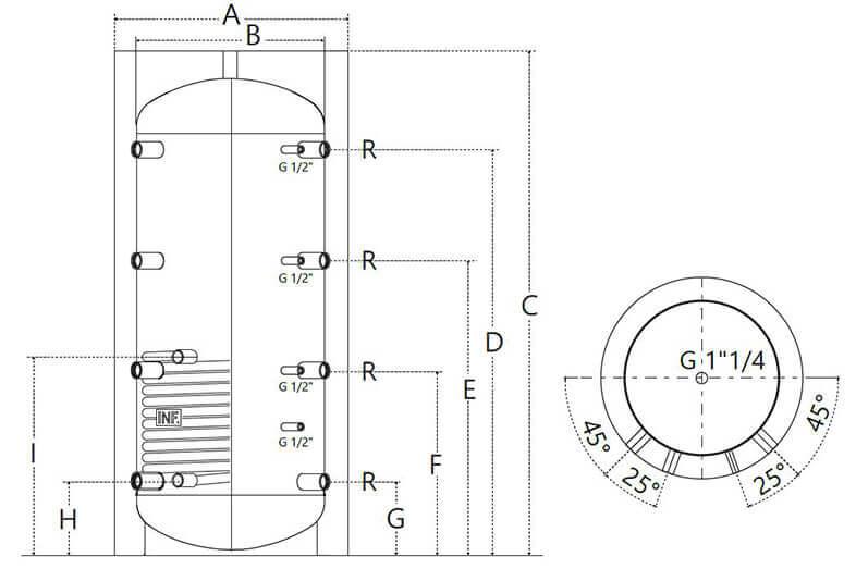 Dimensions du ballon tampon 300 à 1500L 1 échangeur