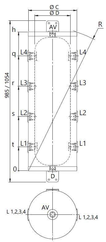 Dimensions et piquages du ballon tampon pour PAC 50 et 80 Litres