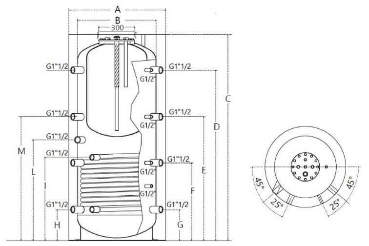 Dimensions et piquages du ballon combiné 500 à 1000 L avec 1 échangeur