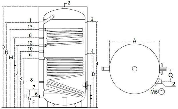 Dimensions et piquages du ballon inox avec 2 échangeurs 800 litres