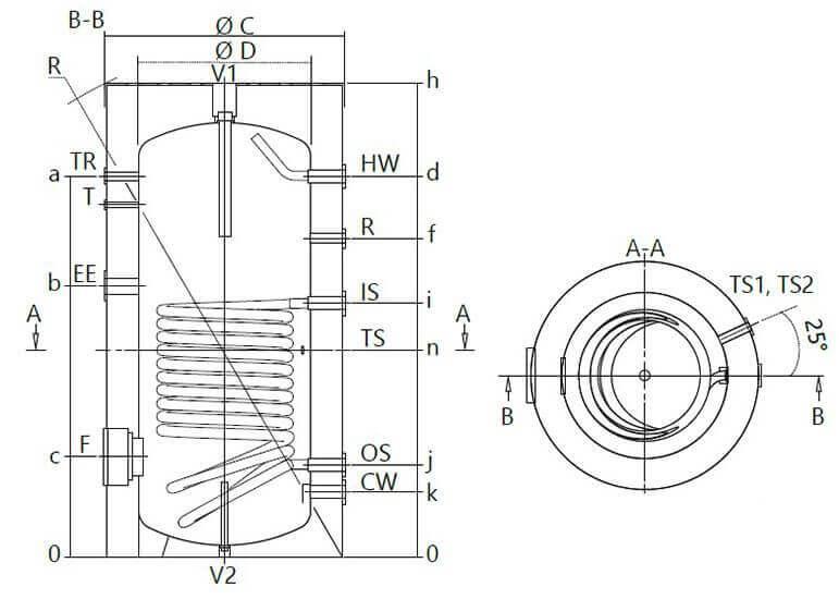 Schéma technique du ballon d'eau chaude sanitaire mixte 300 litres FCS