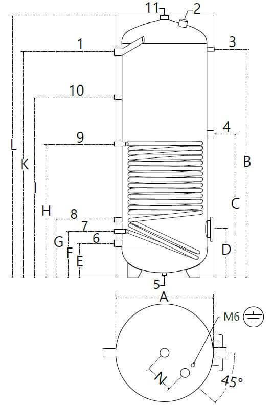 Dimensions et piquages ballon ECS solaire 150 à 500 litres 1 échangeur
