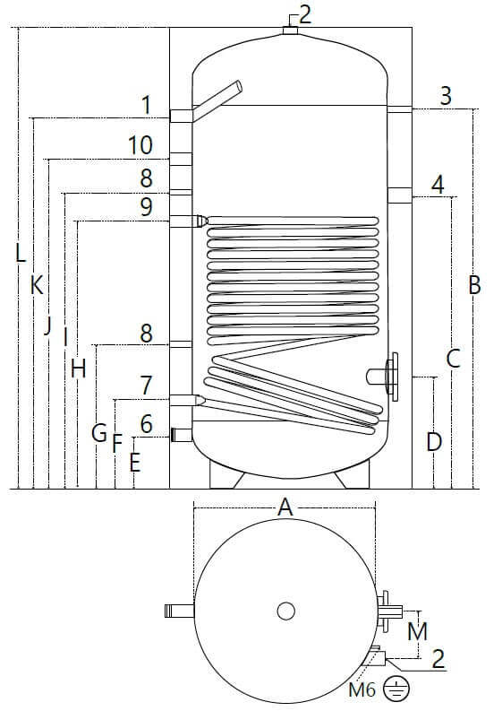 Dimensions et piquage du ballon ECS solaire 800 et 1000 litres avec 1 échangeur