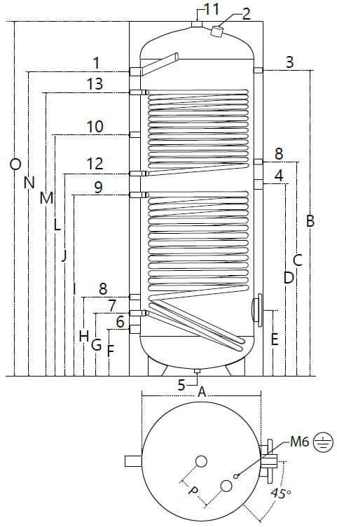 Dimensions et piquages du ballon solaire 200 à 500 Litres 2 échangeurs