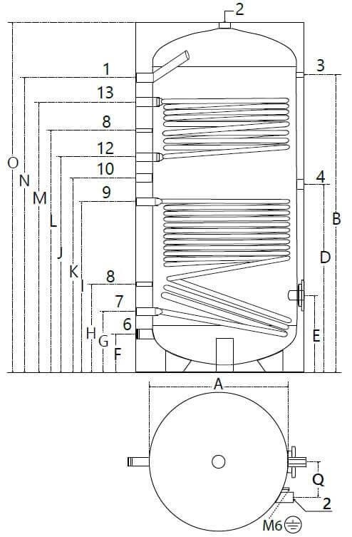 Dimensions et piquages du ballon solaire 800 litres avec 2 échangeurs