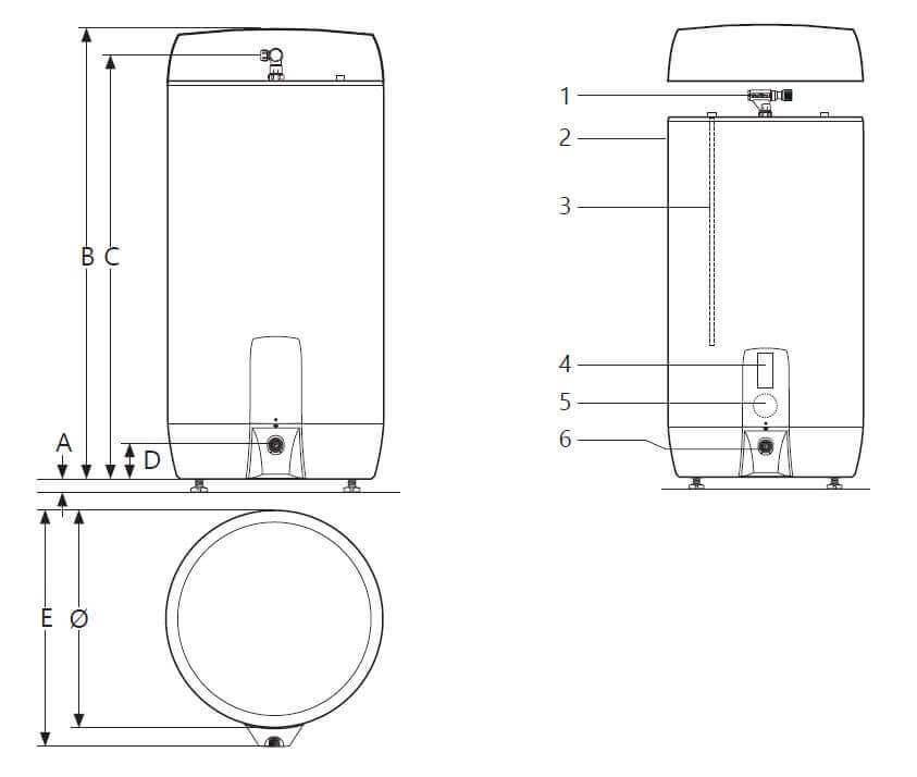 Dimensions vue du dessus ballon électrique inox ECS avec résistance thermoplongée