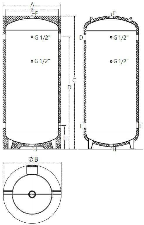 Dimensions et piquages du ballon bouteille de mélange pour eau chaude et glacée 100 à 1000 Litres