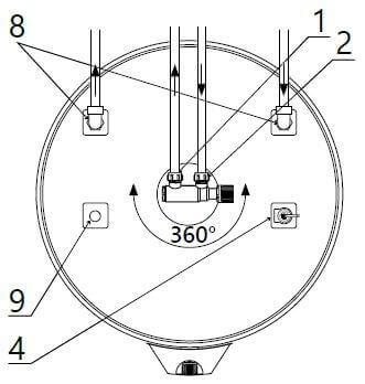 Dimensions vue du dessus du ballon ECS avec échangeur 150, 200 et 300 litres