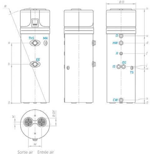 Dimensions du ballon thermodynamique 200 litres sans échangeur