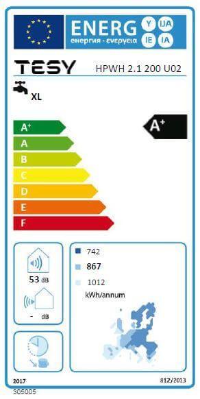Label énergétique ballon thermodynamique 200L avec ou sans échangeur