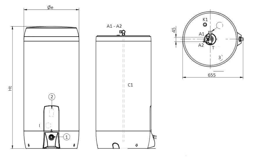Dimensions du ballon chauffe-eau électrique ECS Pluggy Fiorini