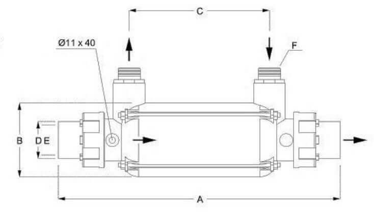 Schéma et dimensions de l'échangeur thermique pour piscine 25 et 45 kW INOX