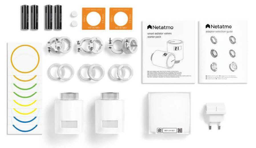 Composition du Starter Pack Netatmo avec 2 têtes thermostatique et relais