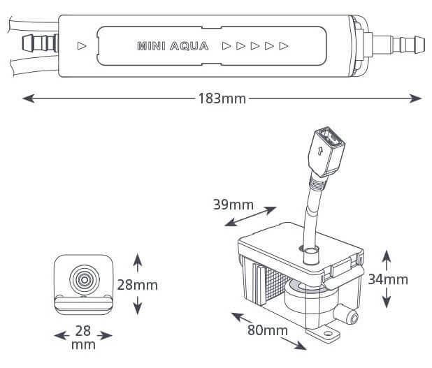 Dimensions pompe aspen mini Aqua