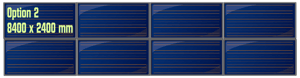 Possibilité de créer deux groupes de 4 panneaux solaires horizontaux
