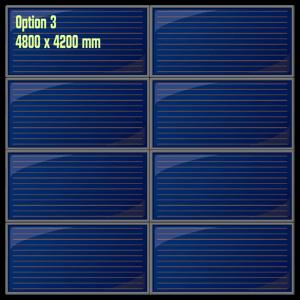 Possibilité d'installation des capteurs solaires thermiques en mode superposé en toiture en deux groupes de quatre panneaux horizontaux