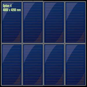 Possibilité d'installation des capteurs solaires thermiques en mode superposé en toiture en deux groupes de quatre panneaux verticaux