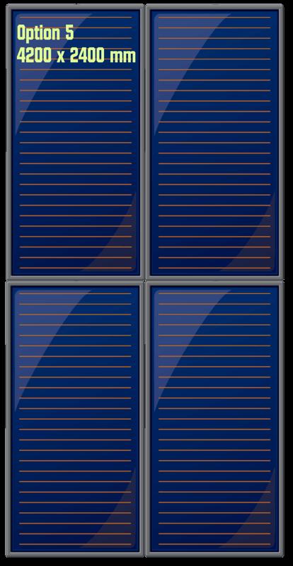 Possibilité d'installation des capteurs solaires thermiques en mode superposé en toiture en deux groupes de deux panneaux verticaux