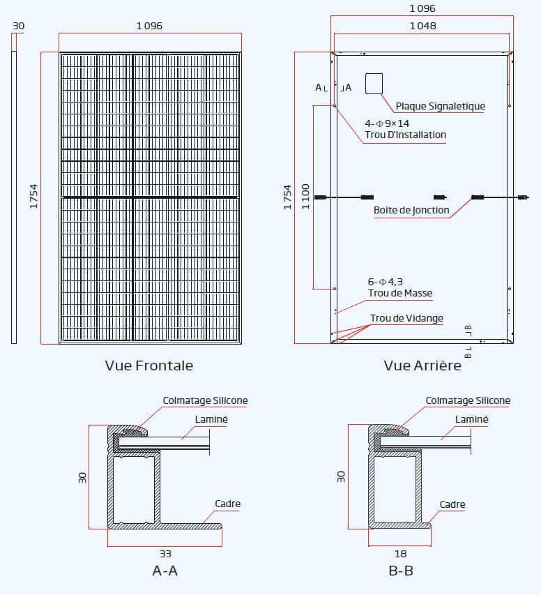 dimensions du panneau trina solar 400 Wc
