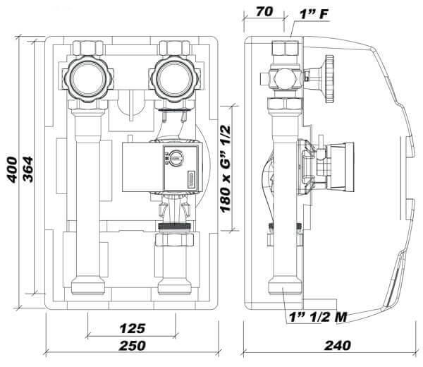 dimensions du module hydraulique à chauffage direct DN25