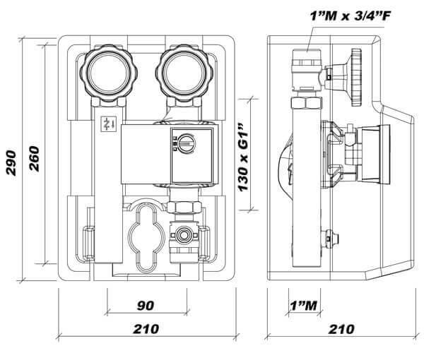dimensions module hydraulique à chauffage direct