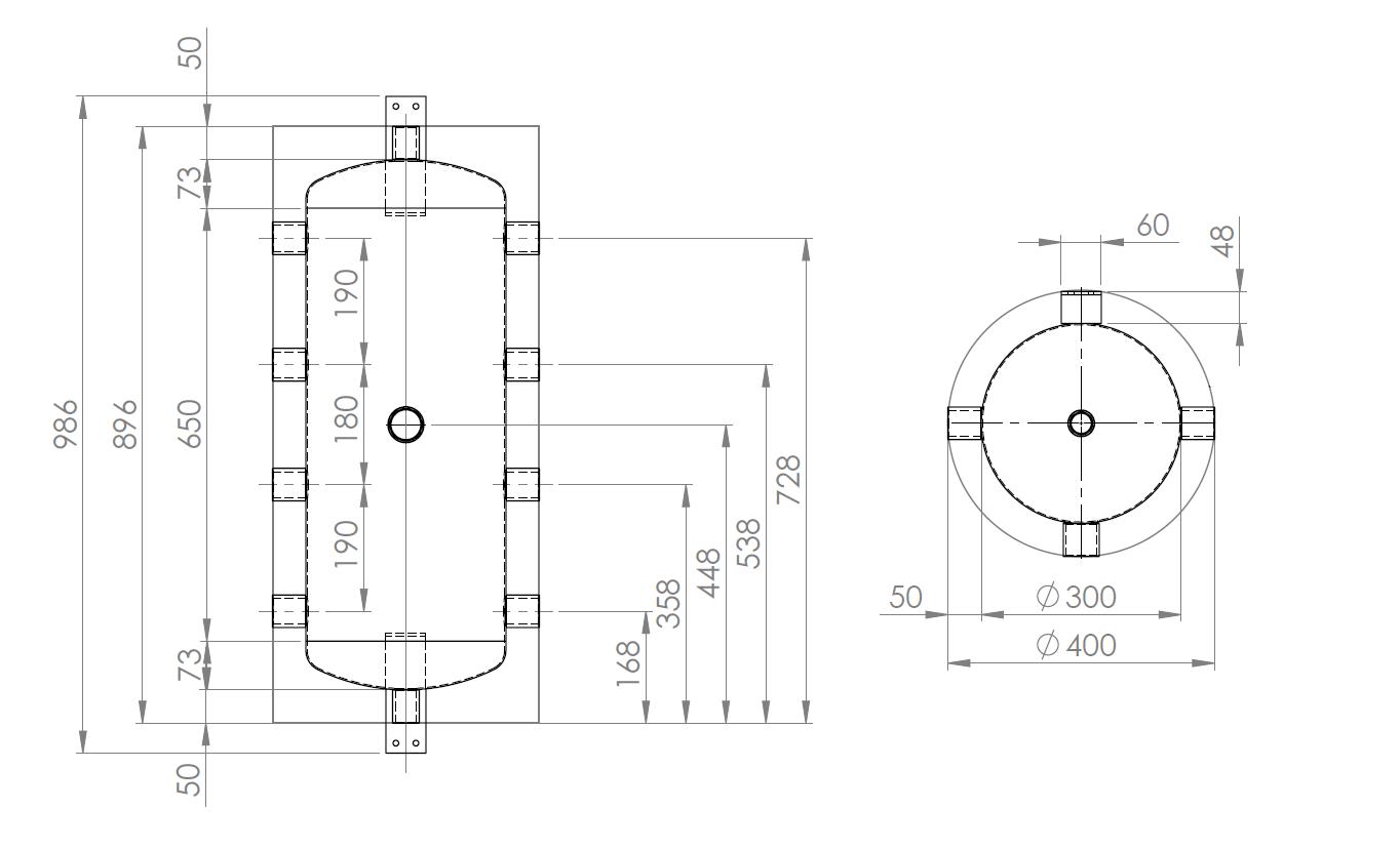 Dimensions du ballon de mélange tampon pompe à chaleur