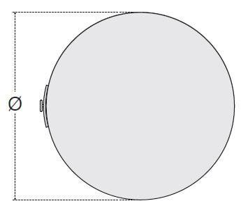 Dimensions vue du dessus du ballon ECS électrique mural 30, 70 et 90 litres