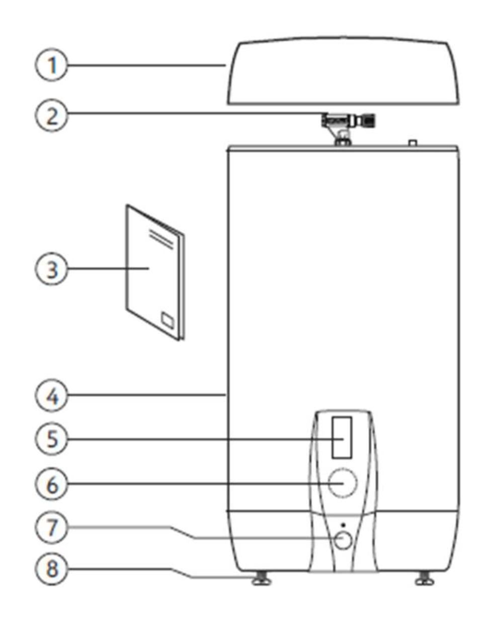 Pièces fournies avec le ballon électrique ECS 120 litres inox AISI 444