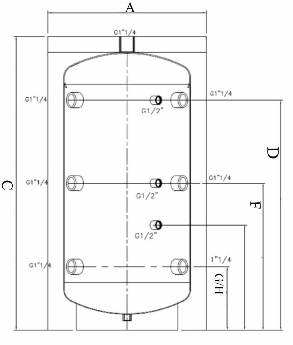 Schéma raccordements et dimensions du ballon tampon 100 litres