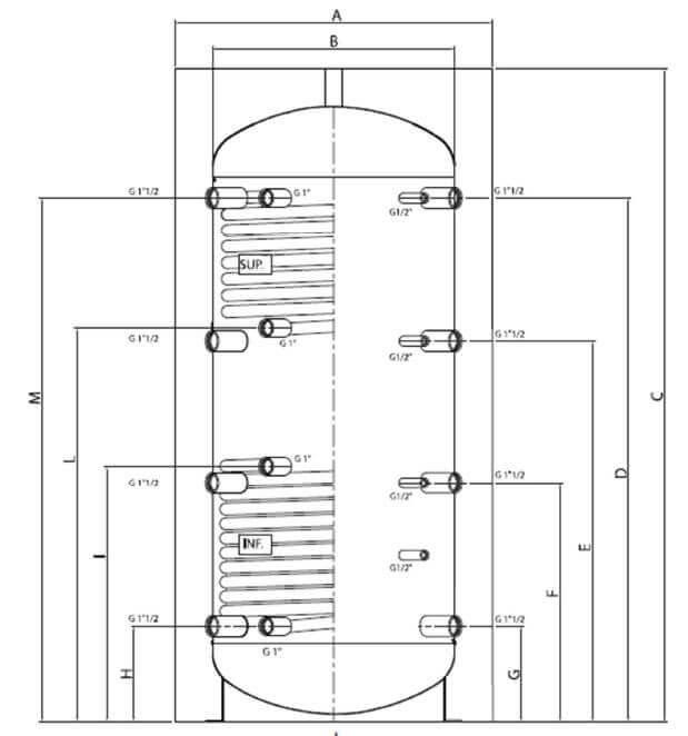 Dimensions ballon tampon chauffage 0, 1 ou 2 échangeurs