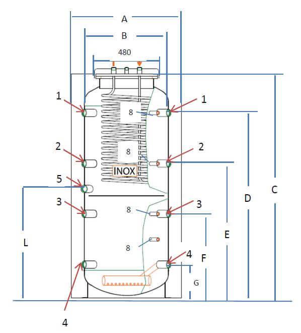 Dimensions ballon tampon 500L mixte chauffage et ECS