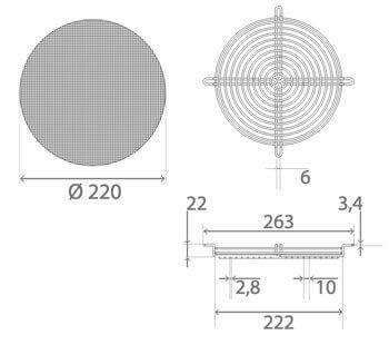schema technique dimensions kit de protection anti insectes pour climatiseur klimea