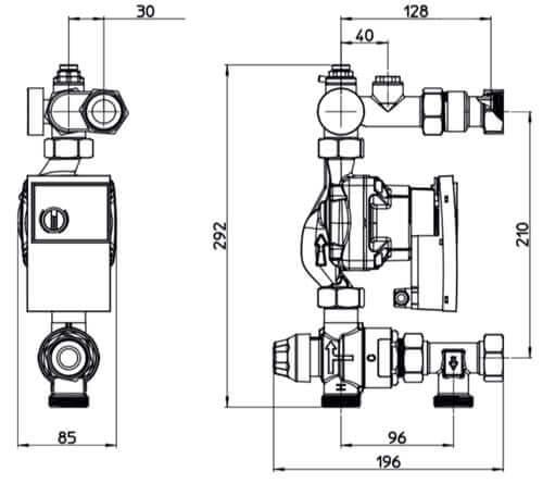 dimensions de l'unité de régulation pour plancher chauffant