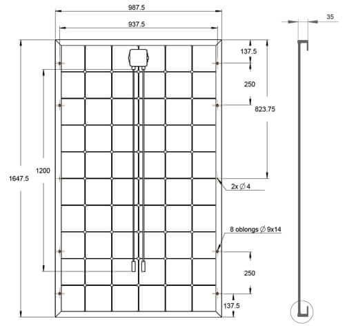 dimensions du panneau solaire photovoltaïque systovi 300 Wc