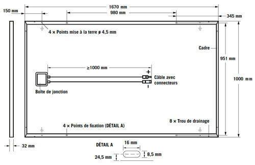 dimensions d'un panneau photovoltaïque G4 cadre noir Q-Cells