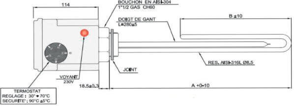 schéma du thermoplongeur électrique pour chauffe eau et chauffage