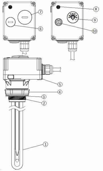 Schéma et dimensions du thermoplongeur électrique